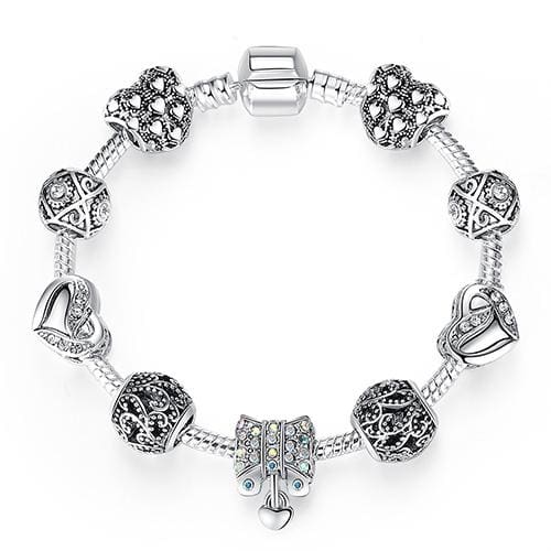 Original Silver 925 Crystal Four Leaf Clover Bracelet with Clear Murano Glass Beads Charm Bracelet PS3868 / 17cm