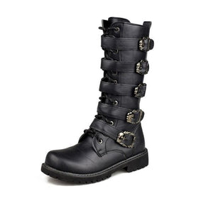 OUDINIAO Army Boots Men High Military Combat Boots Metal Buckle Punk Mid Calf Male Motorcycle Boots Black / 5.5