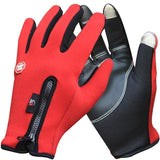 Outdoor Winter Thermal Sports Bike Gloves Windproof Warm Full Finger Cycling Ski Motorcycle Hiking Red / S