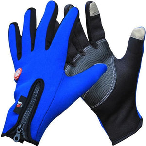 Outdoor Winter Thermal Sports Bike Gloves Windproof Warm Full Finger Cycling Ski Motorcycle Hiking Blue / S