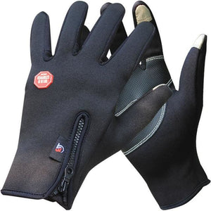 Outdoor Winter Thermal Sports Bike Gloves Windproof Warm Full Finger Cycling Ski Motorcycle Hiking Black / S