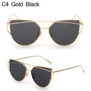 Owl City Cat Eye Women Sunglasses Brand Design Mirror Flat Rose Gold Vintage Cateye Fashion Sun Gold Black
