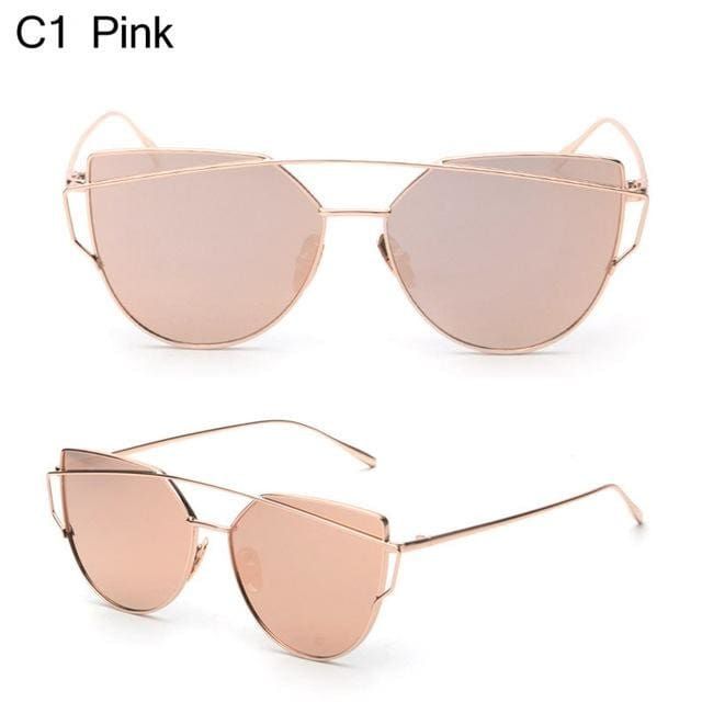Owl City Cat Eye Women Sunglasses Brand Design Mirror Flat Rose Gold Vintage Cateye Fashion Sun Pink