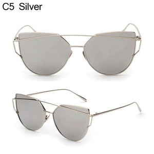 Owl City Cat Eye Women Sunglasses Brand Design Mirror Flat Rose Gold Vintage Cateye Fashion Sun Silver Silver