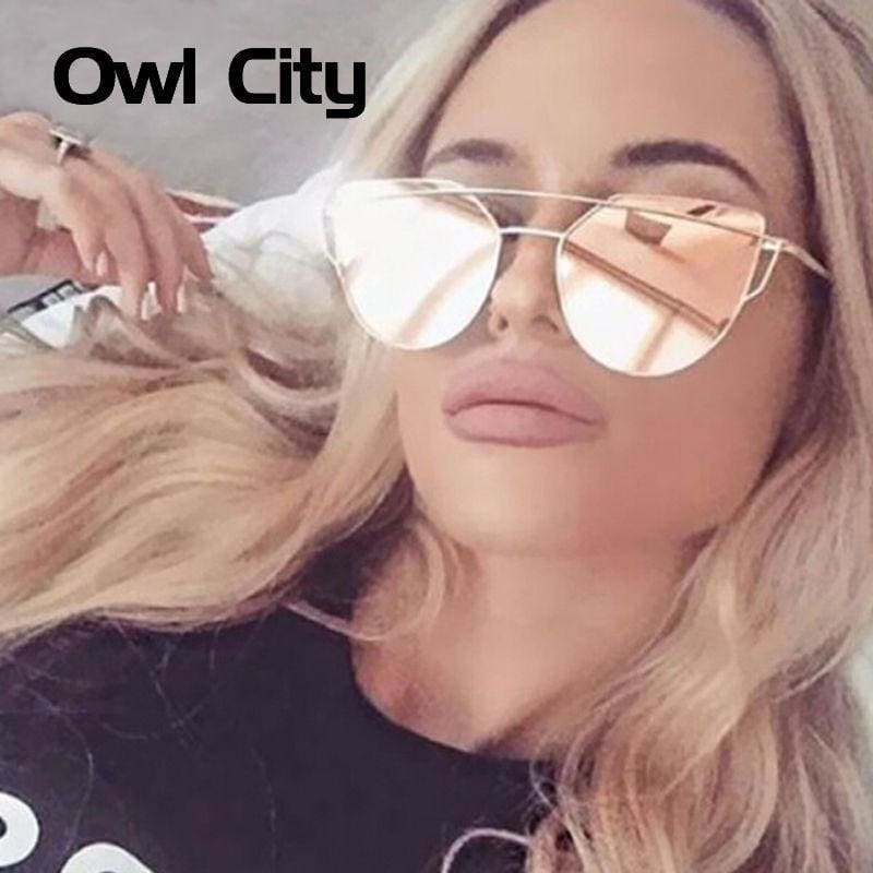 Owl City Cat Eye Women Sunglasses Brand Design Mirror Flat Rose Gold Vintage Cateye Fashion Sun