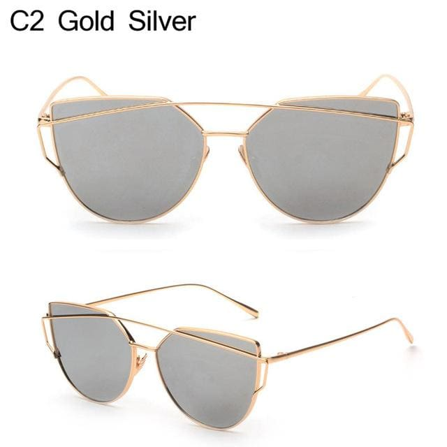 Owl City Cat Eye Women Sunglasses Brand Design Mirror Flat Rose Gold Vintage Cateye Fashion Sun Gold Silver
