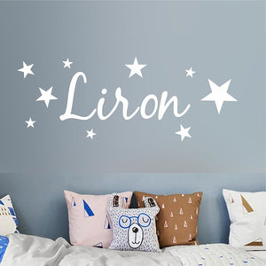 Personalized Name Wall Sticker DIY Stars Boys and Girls Art Wallpaper for Kids Room Playroom
