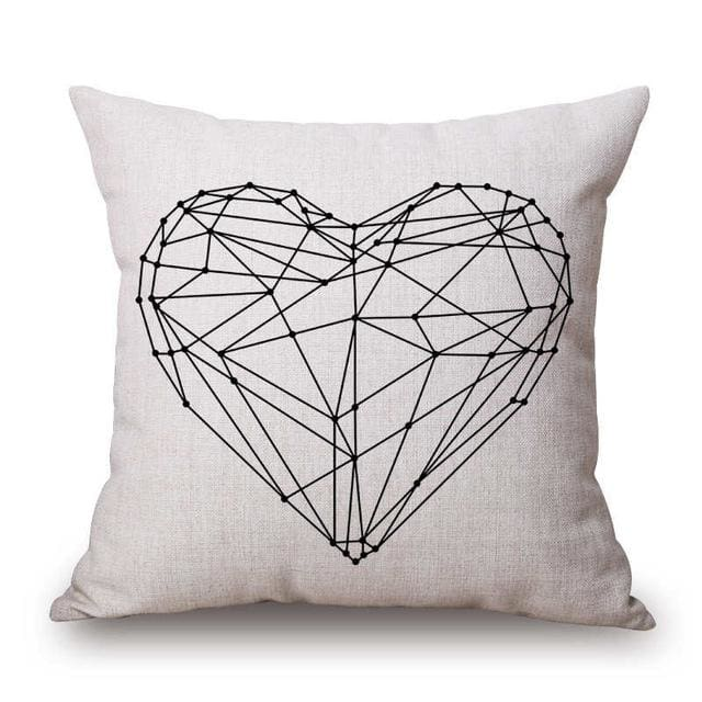 Pillow Case Black And White Pattern Pillowcase Cotton Linen Printed 18X18 Inches Geometry Euro 9 / 45X45Cm