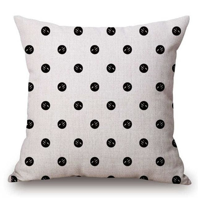 Pillow Case Black And White Pattern Pillowcase Cotton Linen Printed 18X18 Inches Geometry Euro 16 / 45X45Cm