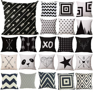 Pillow Case Black And White Pattern Pillowcase Cotton Linen Printed 18X18 Inches Geometry Euro