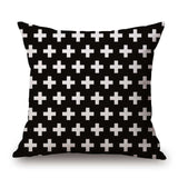 Pillow Case Black And White Pattern Pillowcase Cotton Linen Printed 18X18 Inches Geometry Euro 19 / 45X45Cm