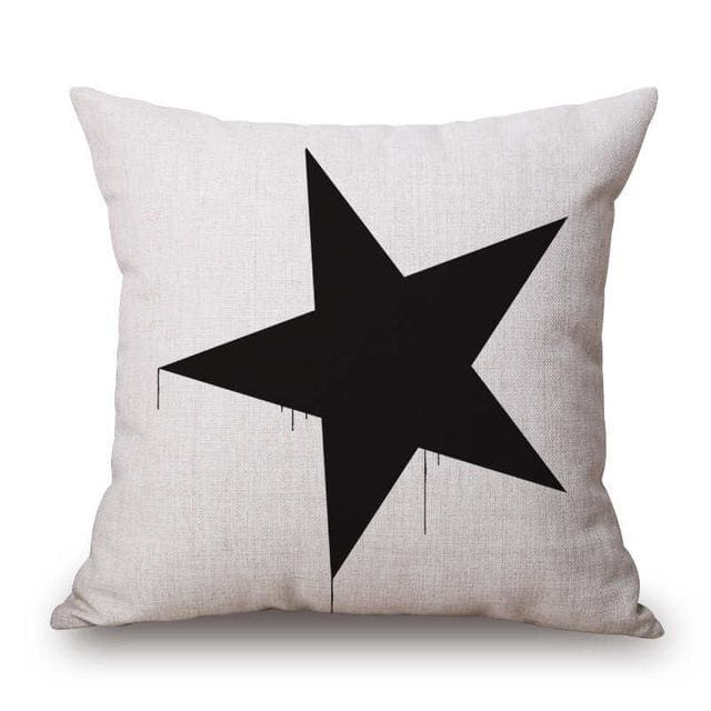 Pillow Case Black And White Pattern Pillowcase Cotton Linen Printed 18X18 Inches Geometry Euro 8 / 45X45Cm
