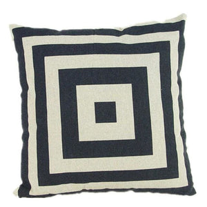 Pillow Case Black And White Pattern Pillowcase Cotton Linen Printed 18X18 Inches Geometry Euro 3 / 45X45Cm