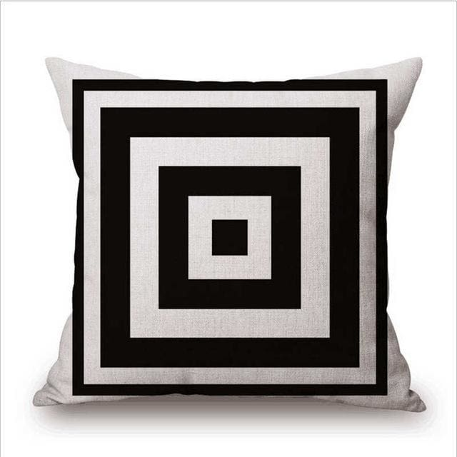 Pillow Case Black And White Pattern Pillowcase Cotton Linen Printed 18X18 Inches Geometry Euro 5 / 45X45Cm