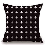 Pillow Case Black And White Pattern Pillowcase Cotton Linen Printed 18X18 Inches Geometry Euro 13 / 45X45Cm