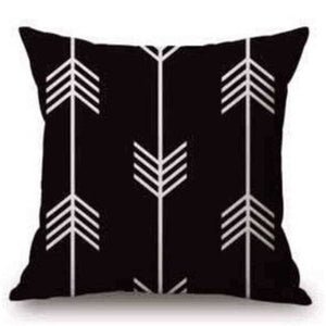 Pillow Case Black And White Pattern Pillowcase Cotton Linen Printed 18X18 Inches Geometry Euro 18 / 45X45Cm