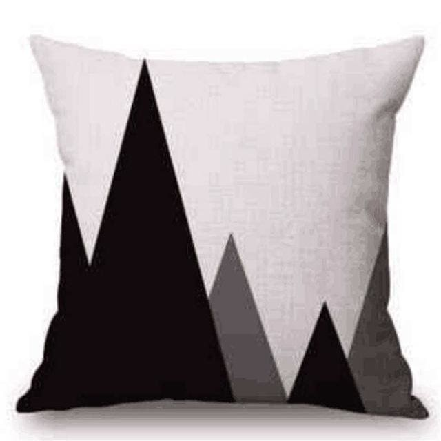 Pillow Case Black And White Pattern Pillowcase Cotton Linen Printed 18X18 Inches Geometry Euro 15 / 45X45Cm