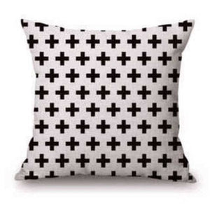 Pillow Case Black And White Pattern Pillowcase Cotton Linen Printed 18X18 Inches Geometry Euro 17 / 45X45Cm