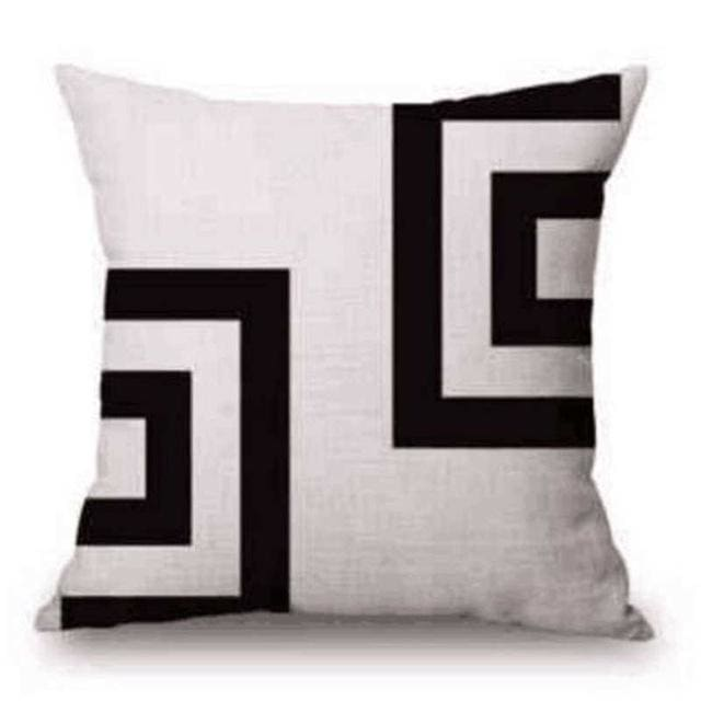 Pillow Case Black And White Pattern Pillowcase Cotton Linen Printed 18X18 Inches Geometry Euro 14 / 45X45Cm