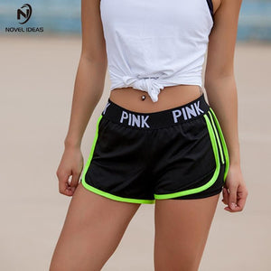 PINK Letter Yoga Sexy Hip Gym Sports For Workout Run Slimming Beach Hiking Quick Dry Running Shorts