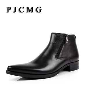 PJCMG New cowhide boots Genuine Soft Leather Boots Pointed Toe Breathable Bullock Patterns Oxford - MBMCITY