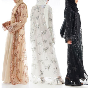 Plus Size 2018 Summer Abaya Dubai Sexy Women Long Sequined Lace Mesh Kimono Cardigan Muslim Hijab
