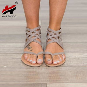 Plus Size 34-43 Flats Summer Women's Sandals 2017 New Fashion Casual Shoes For Woman European Rome