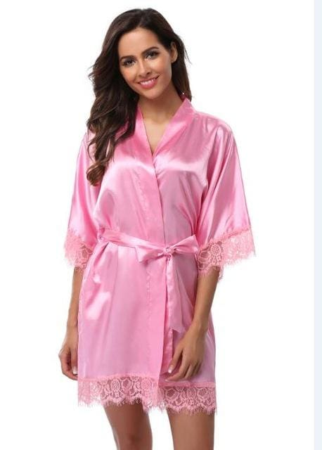 Plus Size Lace Patchwork Bride Bridesmaids Robe Sexy Lingerie Women Silk Wedding Party Kimono Robes