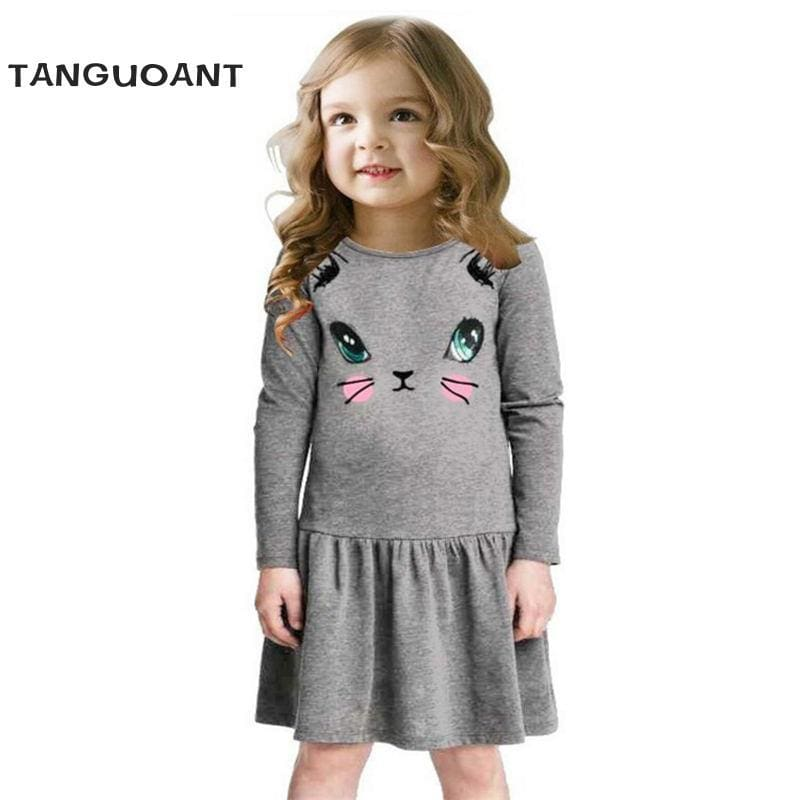 Princess Girls Dress 2018 New Fashion summer Cat Print Children Long Sleeve Cartoon baby girl Cotton