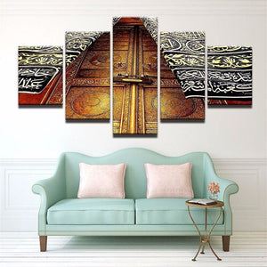Printed Picture Modular Painting 5 Panel Kaaba Modern Wall Art For Living Room Islam Home Decor.