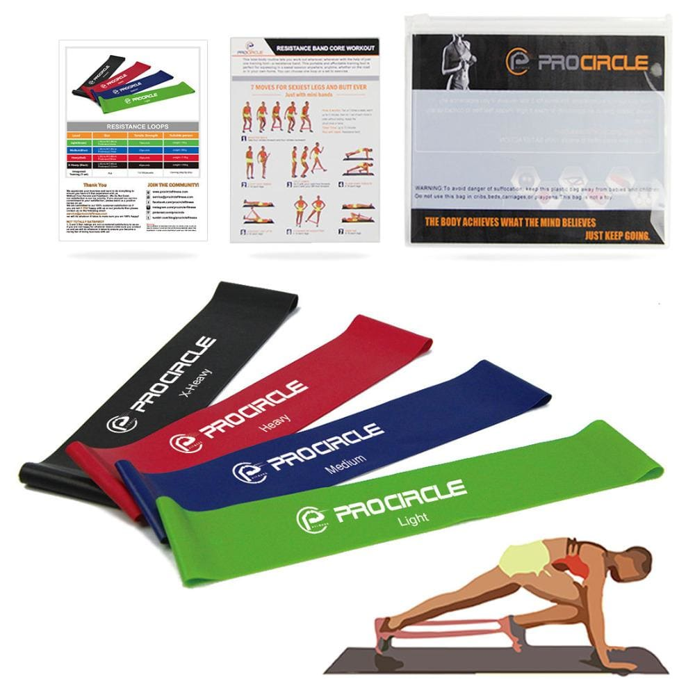 Procircle 4Pcs Resistance Loop Bands Set Latex Exercise Band Yoga Strength Training -25Cm /30Cm