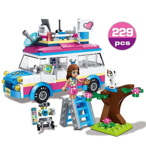 Compatible Legoinglys Friends Series Heart Lake City Girls Club Street Building Blocks Pink Cake Cafe Blue Camper Cute 4 Types