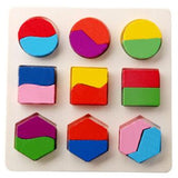 Montessori Toys Educational Wooden Toys for Children Early Learning 3D Puzzles Colorful Geometry Shape Matching - MBMCITY