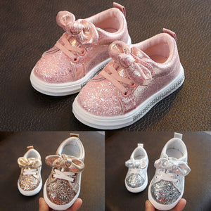 Cute Girls Casual Shoes Sneakers Toddler Baby Girls Bow Sequin Crib Trend Casual Shoes Kids Children Anti Slip Pink Dress Shoes - MBMCITY