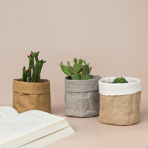 Free Shipping Kraft Paper Flower Pot coats Office Creative Desktop Plant Bag Cosmetic storage bag Home Decoration Accessories.