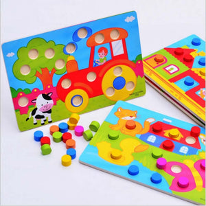 Color Cognition Board Montessori Educational Toys For Children Wooden Toy Jigsaw Early Learning Color Match Game CL0545H - MBMCITY