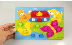 Color Cognition Board Montessori Educational Toys For Children Wooden Toy Jigsaw Early Learning Color Match Game CL0545H