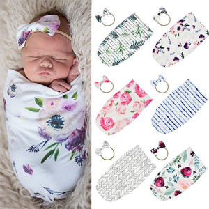 Stretch Baby Sleeping Bag Type Two-piece Bow And Hair Band Cotton Sleeping Bag Swaddling Kid Girl Bedding Dropshipping.