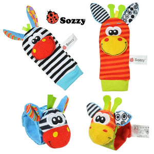 Sozzy Newborn Plush Sock Baby Toy Socks Animal Cute Cartoon Baby Rattles - MBMCITY
