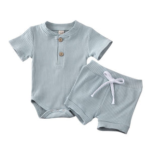 2020 Baby Summer Clothing Newborn Kid Baby Boy Girl Clothes Short Sleeve Bodysuit Shorts Ribbed Solid 2Pcs Outfits Set - MBMCITY