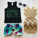 Newborn Infant Baby Boy Summer Beach Hawaii Outfit T shirt Tank Top Shorts Pants - MBMCITY