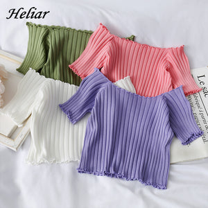 HELIAR Women T-shirt Off Shoulder Knitting Crop Tops Women Fashion Solid Short Sleeve Skinny - MBMCITY