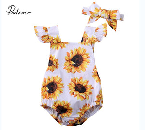 2020 Baby Summer Clothing Newborn Baby Girl Sunflower Jumpsuit Clothes Bodysuit Headband Backless Outfits - MBMCITY