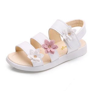 Girls Sandals Gladiator Flowers Sweet Soft Children's Beach Shoes Kids Summer Floral Sandals Princess Fashion Cute High Quality - MBMCITY