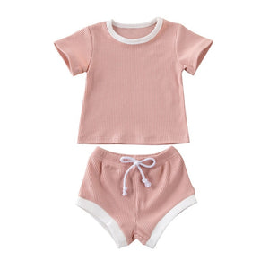 2020 Baby Summer Clothing Infant Baby Girl Boy Clothes Short Sleeve Tops T-shirt+Shorts Pants Ribbed Solid Outfits 0-3T - MBMCITY
