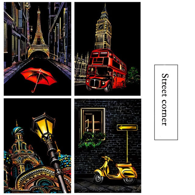 21x29.7 CM A4 DIY Colorful Night View Scraping Painting Magic Scratch Art Painting Paper Manual Drawing Toys Kids Education Toys - MBMCITY