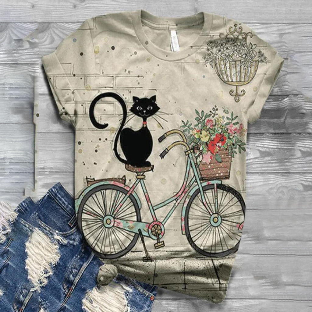 Tshirt Women Plus Size Short Sleeve 3D Animal Printed O-neck Tops Tee T-shirt Ropa Mujer - MBMCITY