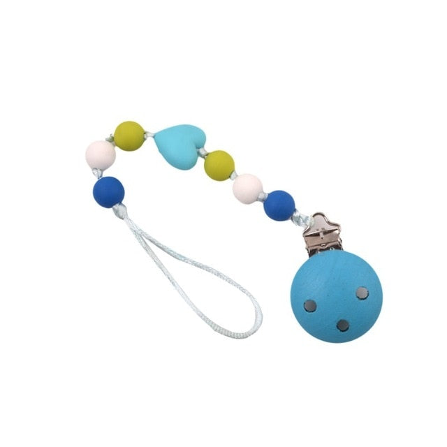 1Pcs  New Wooden Baby Toy Gift Pacifier Clip Chian Holder Wooden Bead Teether Toy for Baby Chew Rattles Mobiles Newborn Toy Gift - MBMCITY