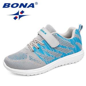 BONA New Arrival Popular Style Children Casual Shoes Mesh Sneakers Boys & Girls Flat Child Running Shoes Light Fast Free Shippin