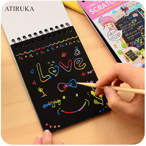 1PC Scratch Note Children's Creative DIY Scratch Painting Colorful Graffiti Notebook Creative DIY Environmental Friendly Puzzle - MBMCITY